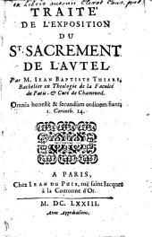 Traité de l'Exposition du St. Sacrement de l'Autel