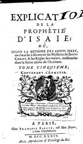 Explication de la prophetie d'Isaie etc: Volume 6
