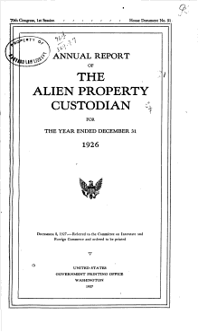 Annual Report of the Alien Property Custodian PDF