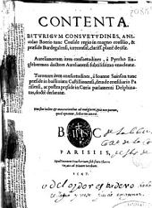 Contenta Biturigum consuetudines: Aurelianorum item consuetudinem ; à Pyrrho Englebermeo ... enuncleatae ; turonum item consuetudines, à Ioanne Sainson ...