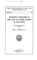 Selected Problems in the Law of Water Rights in the West PDF