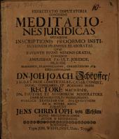 Exercitatio disputat. continens meditationes iuridicas, occasione inscriptionis, Prooemio Institutionum praemissae, elaboratas