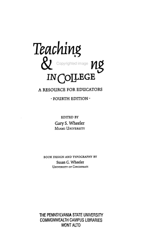 Teaching   Learning in College PDF