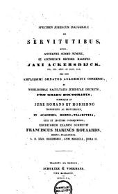 Specimen juridicum inaugurale de servitutibus