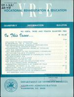 Vocational Rehabilitation   Education Quarterly Information Bulletin PDF