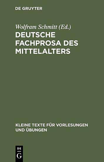 Deutsche Fachprosa des Mittelalters PDF