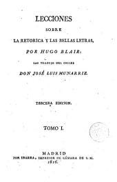 Lecciones sobre la retorica y las bellas letras, 1
