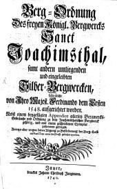 Bergordnung des freyen k. Bergwerks Sankt Joachimsthal