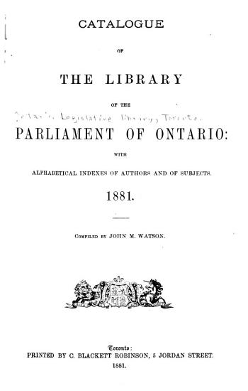 Catalogue of the Library of the Parliament of Ontario PDF