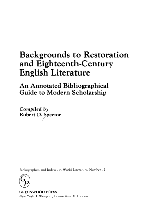 Backgrounds to Restoration and Eighteenth century English Literature PDF