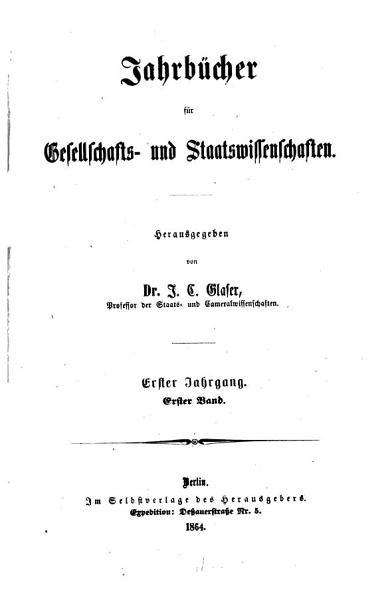 Jahrbucher Fur Gesellschafts Und Staatswissenschaften
