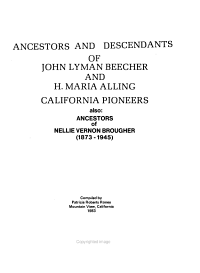 Ancestors and Descendants of John Lyman Beecher and H  Maria Alling  California Pioneers PDF