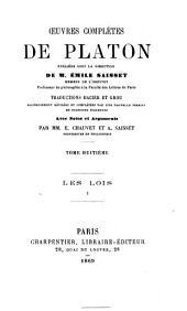 Oeuvres completes de Platon: 8: Les lois. 1