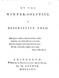 On the Winter-solstice. A Descriptive Poem