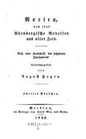 Norica; das sind Nürnbergische Novellen aus alter Zeit. Nach einer Handschrift des 16. Jhs: Band 2