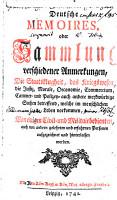 Deutsche Memoires  oder Sammlung verschiedener Anmerkungen PDF