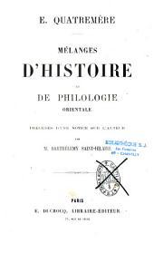 Mélanges d'histoire et de philologie orientale
