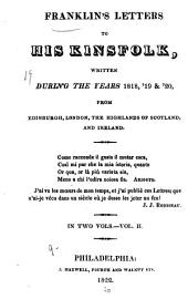 Franklin's letters to his kinsfolk, written during the years 1818, '19 & '20, from Edinburgh, London, The Highlands of Scotland, and Ireland: Volume 2