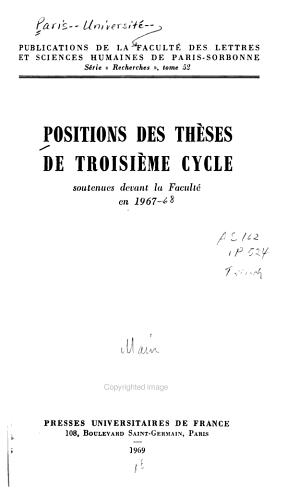 Positions Des Th  ses de Troisi  me Cycle Soutenues Devant la Facult   PDF