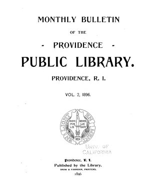 Monthly Bulletin of the Providence Public Library PDF