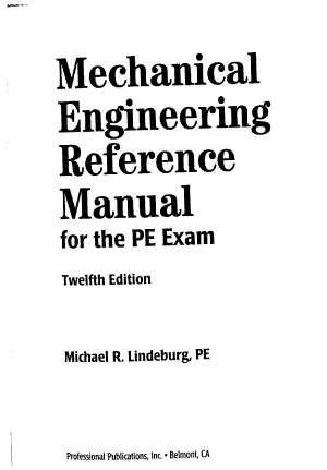 Mechanical Engineering Reference Manual for the PE Exam PDF