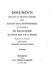Documenti relativi al secondo volume del Saggio sull'indifferenza in materia di religione del signor abate F. de La Mennais. Traduzione dal francese della contessa Ferdinanda Montanari Riccini: Volume 5