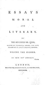 Essays, Moral and Literary
