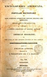 Encyclopædia Americana, ed. by F. Lieber assisted by E. Wigglesworth (and T.G. Bradford).