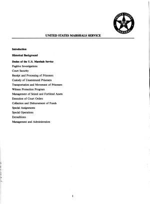 Outline of U S  Marshals Service Activities PDF