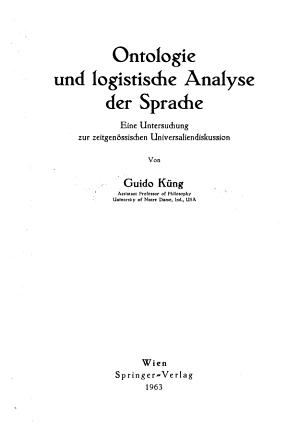 Ontologie und logistiche Analyse der Sprache PDF
