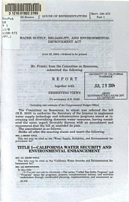 Water Supply, Reliability, and Environmental Improvement Act