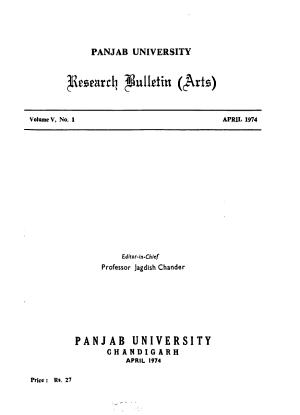 Panjab University Research Bulletin PDF