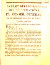 Extrait des registres des délibérations du Conseil Général du département de Rhône et Loire... [abolition des droits féodaux]