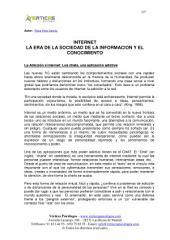 INTERNET LA ERA DE LA SOCIEDAD DE LA INFORMACION Y EL CONOCIMIENTO
