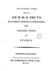 Auctorem fidei: Bula de N. SS. P. Pio VI ... condenatoria del execrable synodo de Pistoya