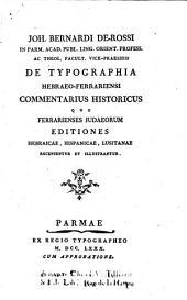 De typographia Hebraeo-Ferrariensi commentarius historicus