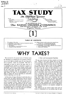 Tax Study in Thirteen Lessons