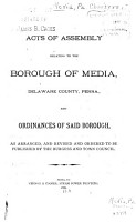 Acts of Assembly Relating to the Borough of Media  Delaware County  Penna PDF