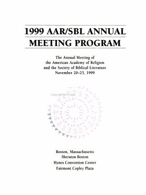 AAR SBL Annual Meeting Program PDF