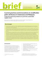 Current practices and innovations in smallholder palm oil finance in Indonesia and Malaysia PDF
