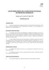 Lignes directrices pour les essais de produits chimiques / Section 1: Propriétés Physico-Chimiques Essai n° 105: Solubilité dans l'eau