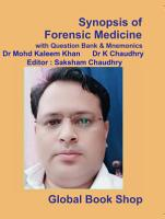 Synopsis of Forensic Medicine with Question Bank   Mnemonics PDF