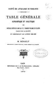 TABLE GENERALE ALPHABETIQUE ET ANALYTIQUE