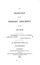 An examination of the primary argument of the Iliad