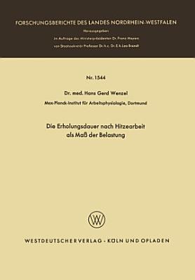 Die Erholungsdauer nach Hitzearbeit als Ma   der Belastung PDF
