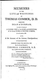 Memoirs of the life and writings of Thomas Comber