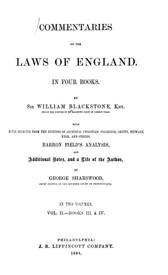 Commentaries on the Laws of England  In Four Books PDF