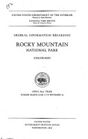 General Information Regarding Rocky Mountain National Park  Colorado PDF