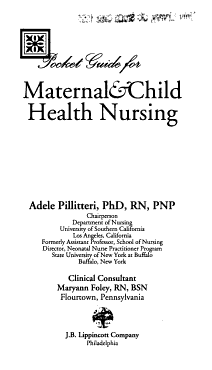 Pocket Guide for Maternal   Child Health Nursing PDF