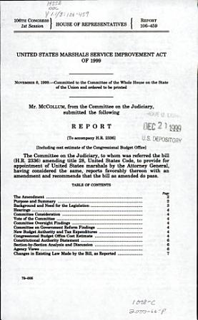 United States Marshals Service Improvement Act of 1999 PDF